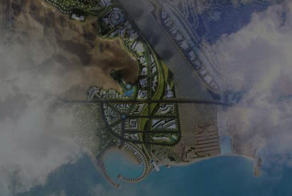 3d image abu dhabi from the sky